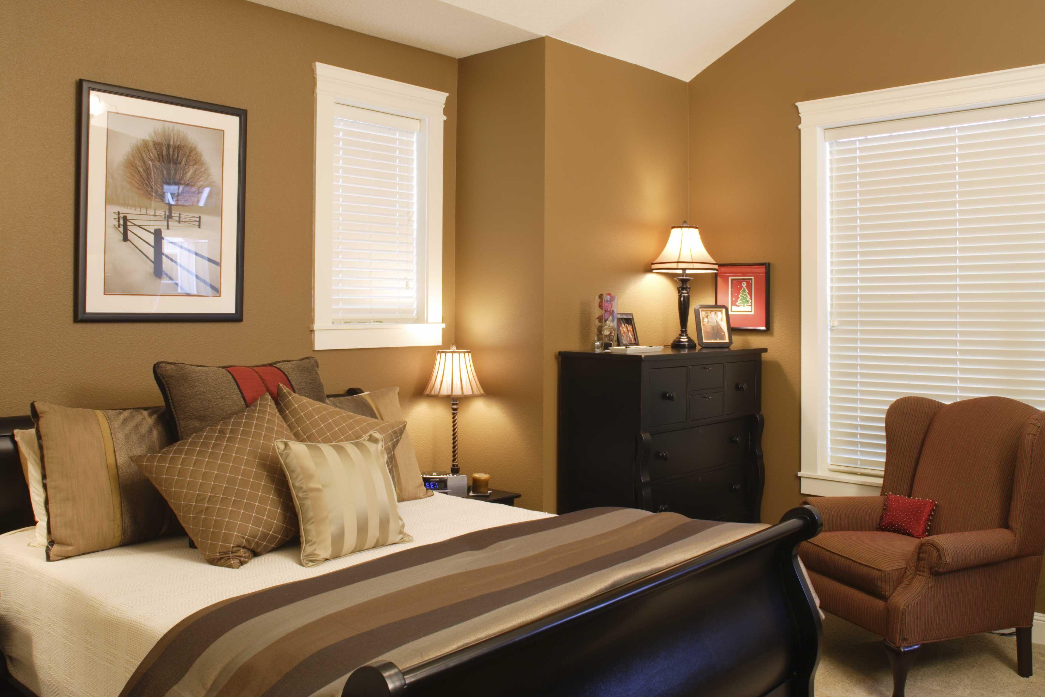 Natural Color Combinations Bedroom White Windows Dark Brown Sofa Elegant Black Cabinet Bed Simple