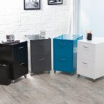 natural colors stylish filing cabinets with casters white bricks wall natural gray wooden floor simple small white table clock