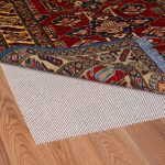 Natural Rubber Rug Pad For Hardwood Floor Natural Wooden Floor Abstract Motive Red Rug