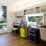 open plan office design with glass ddesk and white chair and white bookscases with glass door and yellow file cabinet