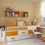 orange trundle beds for children with storage underneath and wall mounted shelves plus study desk and white rug