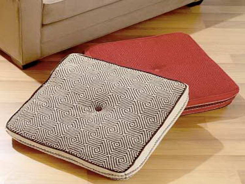 Pad Shaped Ikea Floor Pillow Design In Gray And Red Tone With Single Tuft Pattern On