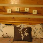 pillows wall wood bed