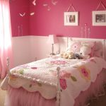 pink color combinations kid's bedroom pastel pink bedcover pastel pink pillows light color wall pictures pastel pink table lamp pastel pink curtain hang butterflies accessories
