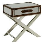 rustic campaign side table for traditional and warm living room furniture ideas with drawer underneath and crossed legs painted in white plus brown accent