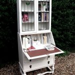 shabby chic bookshelves idea with folding style in white color with deck background