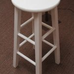 short white wood bar stools in very simple design for kitchen ideas