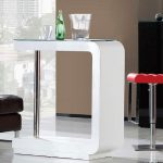 Simple And Modern White Bar Table For Hoemd Esign With Luxurious Couch And Red Stool And Black Storage And Open Plan