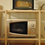 simple built in toaster oven wooden floor simple framed open cabinet
