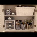 simple diy makeup organizing idea  with plastic racks and chevron pattern pot and white storage in a dresser