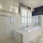 simple glass enclosed showers classic white bathroom elegant white hanging candles white grey granite floor