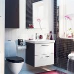simple ikea bath cabinet design in black and white color with wall mirror and black white toilet seat and small tiles wall