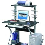 simple small Mobile Techni Mobili desk with printer storage with CD rack below extra storage space for files