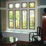 simple stained glass windows for homes living room stained glass windows wooden furniture glass top wicker table white cushions blue white wall