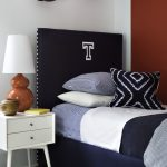 simple statement black twin headboard for boy bedroom decorative balls classic table lamp white side table neutral bedding