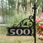 simple unique black frame lawb address signs house number beautiful pink flower