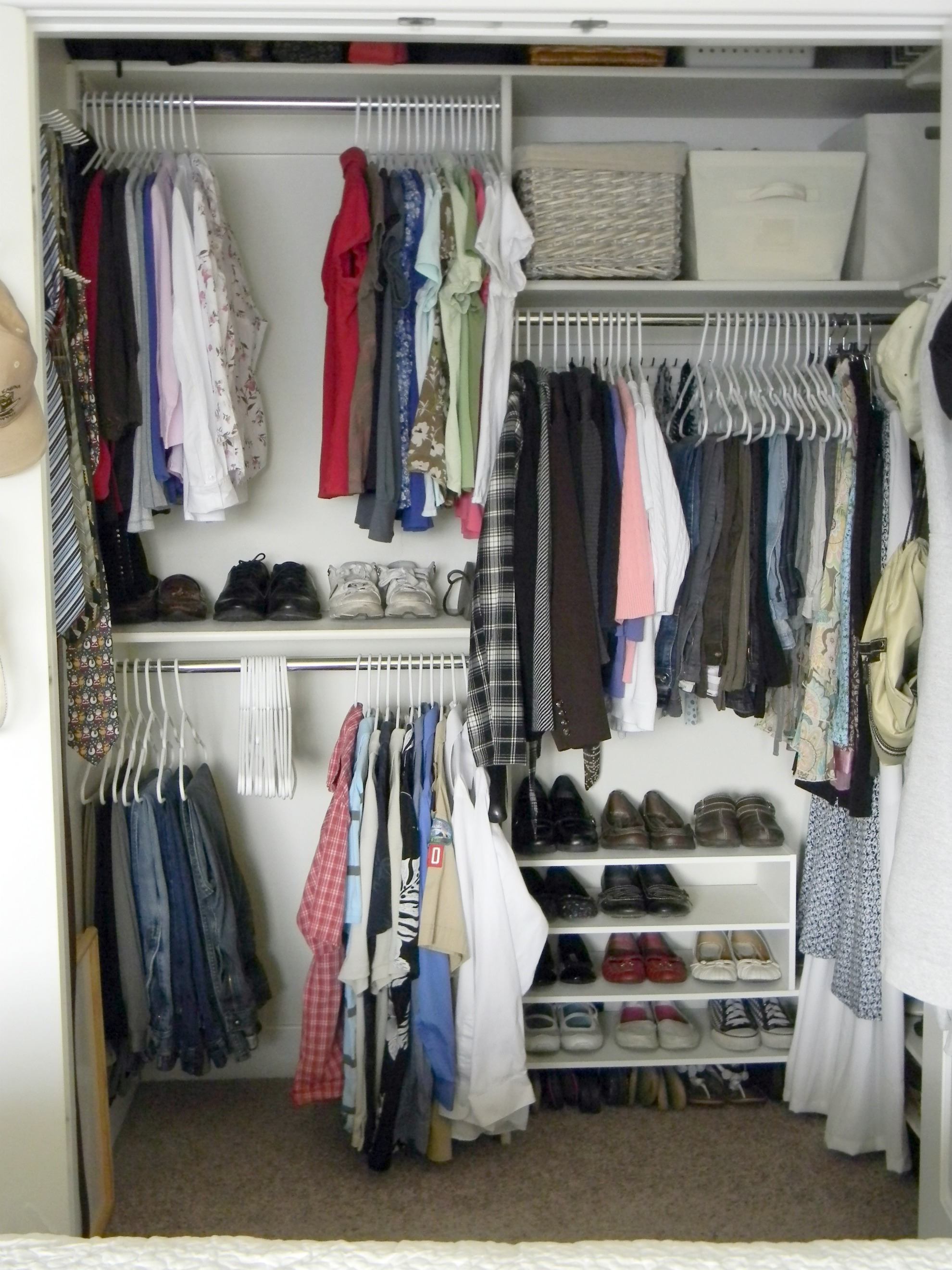 Simple White Closet Organizer For Small With Shoes Racks And Storage Bins Clothes Hangers