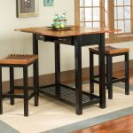 Simple Wooden Bar Table For Home Design With Caramel Tone And Dark Legs On Creamy Gray Area Rug On Wooden Floor With Glass Window