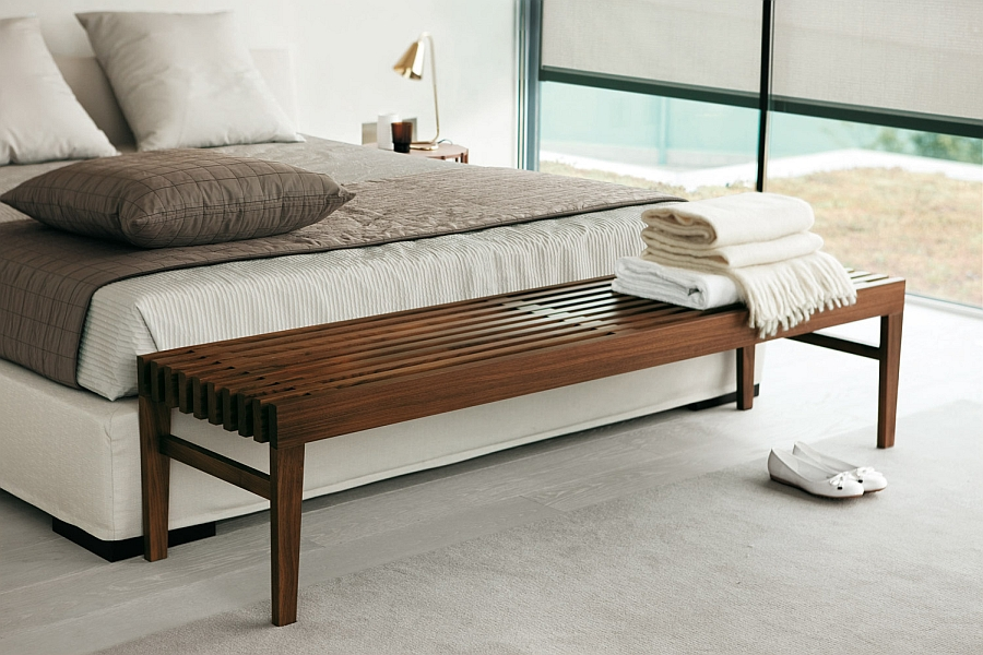 Simple Wooden Benches For End Of Bed Clean Look Moodern Bedroom With White Color Scheme
