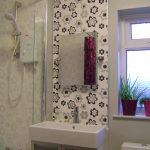 sink mirror shower bathroom wallpaper small