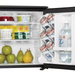 sleek black Culinair Af100s 1.7-Cubic Foot Compact Refrigerator best built-in mini fridge for food and drinks fresh apples and pears cool drinks