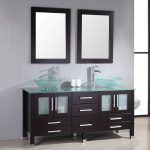 small bathroom vanities with vessel sinks ideas with double glass sink and a lot of storage plus double rectangular mirror on grey wall