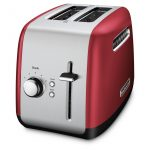 small chrome and red modern toaster design with two slots and single adjustment with knob