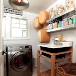 small laundry room idea with single washing machine and wooden storage with rattan basket and floating white shelves lowes