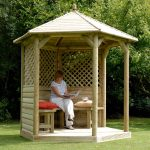 small simple wood bamboo gazebo kits with simple wood furniture for relaxing outdoor reading