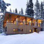 snow house plan for small house idea made of wood with two story and open plan aside lush pine trees