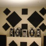 soundproofing an apartment home entertainment room with stylish decorative black acoustic panels behinds speaker set