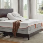 spacious room design with  tempurpedic adjustable base in white tone with wooden headboard and gray area rug and metal table and greenry and accent gray sofa and floor lamp