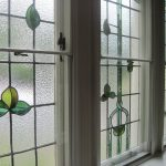 stained glass windows for home simple leaves stained glass windows white wooden frames