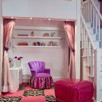 stairs chair curtains shelf lamp