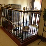 stairs handrails shairs pics plants pot wall floor window curtain