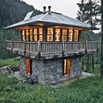 stone house plan for small house with stone foundation with upper open plan and balcony