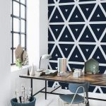 stunning black white doamond shape patterned peel stcik removable wallpaper idea with rustic wooden table and black bar glass window with black bin
