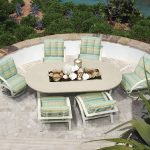 stunning hilly patio design with best patio furniture brands on stone ground with soft green chairs with plaid texture and oval table with centerpieces