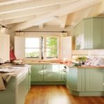 stunning retro style paint color for kitchen in green tone on hardwood floor beneath exposed wooden beams with open plan