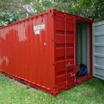 stylish bright red shipping container shed idea with gray interior for cabin house