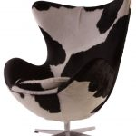 stylish cow print egg chair design with wing oversized backrest design and chicken legs stainless steel base and pole