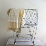 stylish laundry carts on wheels in round shape with  metal or wire