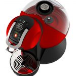 stylish red best coffee maker brand design with black accent and chrome style with glass transparent coat