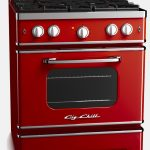 stylish red retro style appliance idea of modern cooktop with microwave
