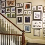 super hit picture frame target design on creamy wall aside staircase with brown railing and white fence and hardwood floor