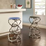 super unique steel base modern Roxanne Backless 2 Counter Height Stool in Stainless with Light Blue Leatherette for simple modern bar with wooden floor