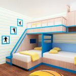 sweet blue bunk bed for small space design on wooden floor with adorable stairs and white yellow bedding set