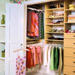 sweet combination of white and beige closet organizer for small closet design with drawers and racks and clothes hanger and white door