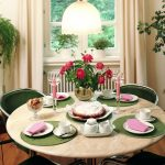 table cloth chairs flower lamp pad candle plates curtains