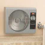 themaflo wall mount space heater with temperature controller decorated in bathroom